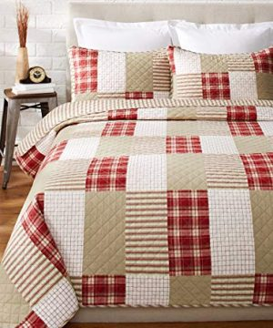 Eddie Bauer Home Camino Island Collection 100 Cotton Reversible Light Weight Quilt Bedspread With Matching Sham 2 Piece Bedding Set Pre Washed For Extra Comfort Twin Red 0 0 300x360