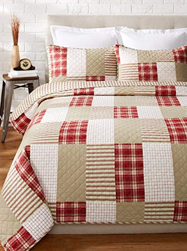 Eddie Bauer Home Camino Island Collection 100 Cotton Reversible Light Weight Quilt Bedspread With Matching Sham 2 Piece Bedding Set Pre Washed For Extra Comfort Twin Red 0 0