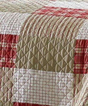 Eddie Bauer Home Camino Island Collection 100 Cotton Reversible Light Weight Quilt Bedspread With Matching Sham 2 Piece Bedding Set Pre Washed For Extra Comfort Twin Red 0 1 300x360