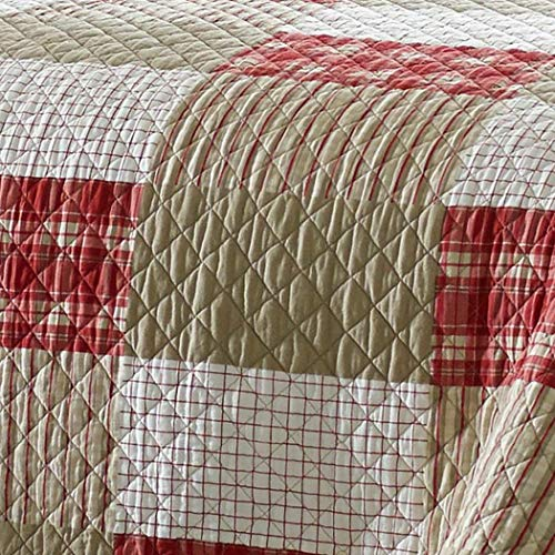 Eddie Bauer Home Camino Island Collection 100 Cotton Reversible Light Weight Quilt Bedspread With Matching Sham 2 Piece Bedding Set Pre Washed For Extra Comfort Twin Red 0 1