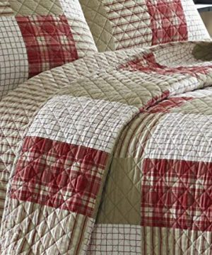 Eddie Bauer Home Camino Island Collection 100 Cotton Reversible Light Weight Quilt Bedspread With Matching Sham 2 Piece Bedding Set Pre Washed For Extra Comfort Twin Red 0 2 300x360