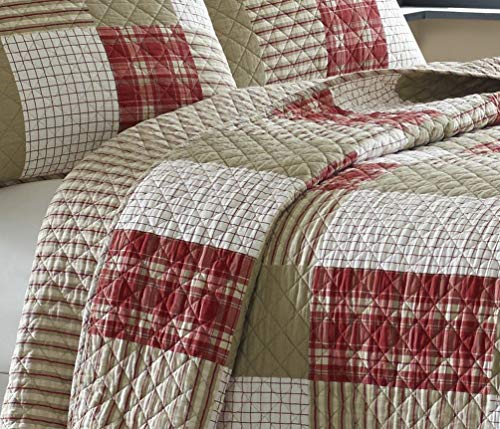 Eddie Bauer Home Camino Island Collection 100 Cotton Reversible Light Weight Quilt Bedspread With Matching Sham 2 Piece Bedding Set Pre Washed For Extra Comfort Twin Red 0 2
