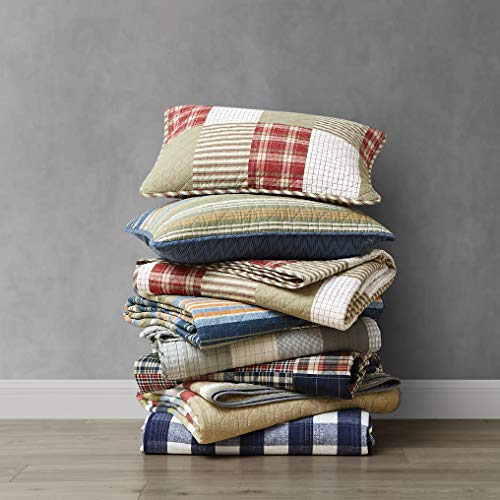 Eddie Bauer Home Camino Island Collection 100 Cotton Reversible Light Weight Quilt Bedspread With Matching Sham 2 Piece Bedding Set Pre Washed For Extra Comfort Twin Red 0 4