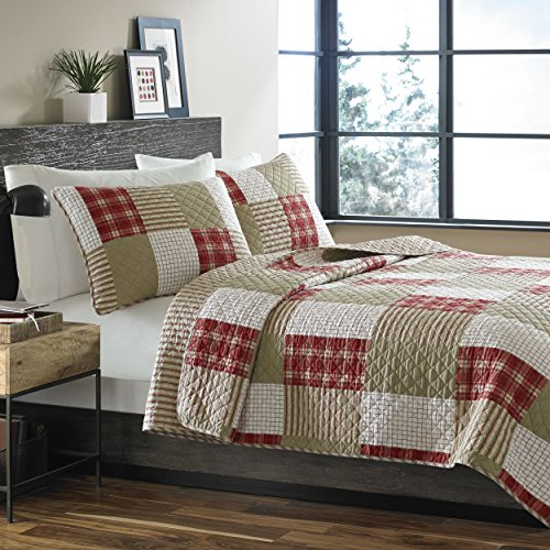 Eddie Bauer Home Camino Island Collection 100 Cotton Reversible Light Weight Quilt Bedspread With Matching Sham 2 Piece Bedding Set Pre Washed For Extra Comfort Twin Red 0