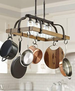 Eldrige Bronze Wood Pot Rack Linear Pendant Chandelier Lighting 36 12 Wide Rustic Farmhouse Clear Seed Glass 4 Light Fixture Kitchen Island Dining Room House High Ceilings Franklin Iron Works 0 300x360