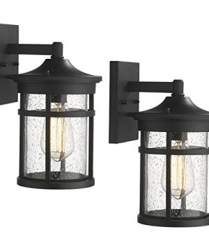 Emliviar Outdoor Wall Sconces 2 Pack Exterior Wall Light Fixture In Black Finish With Seeded Glass 2085B3 2PK BK 0 300x360