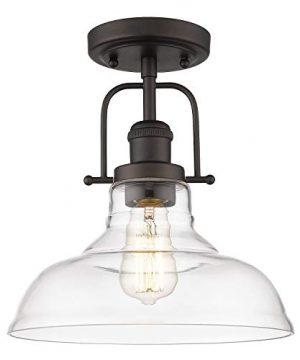 FEMILA Semi Flush Mount Ceiling Light Farmhouse Close To Ceilight Lighting Fixture Oil Rubbed Bronze Finish Clear Glass Pendant Lamp Shade 4FY09 F ORB 0 300x360