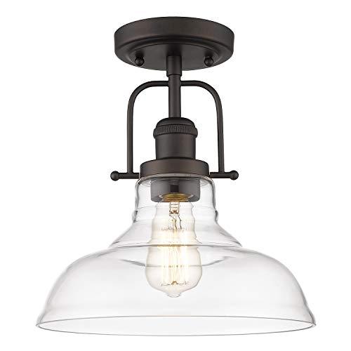 FEMILA Semi Flush Mount Ceiling Light Farmhouse Close To Ceilight Lighting Fixture Oil Rubbed Bronze Finish Clear Glass Pendant Lamp Shade 4FY09 F ORB 0