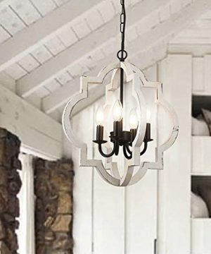 Fabulis 4 Light Farmhouse Orb Chandelier Hand Painted Distressed Wood Hanging Island Light Fixture For Dining Foyer Entryway Lighting White 4 Light 0 300x360