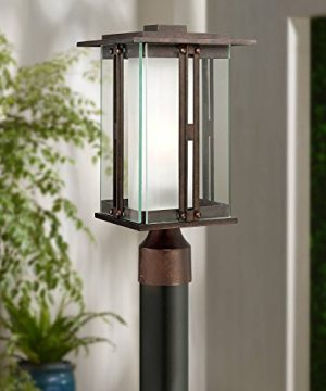 Fallbrook Collection Modern Outdoor Post Light Fixture Bronze 15 34 Clear And Frosted Double Glass Lantern For Exterior House Garden Yard Driveway Deck Franklin Iron Works 0 300x360