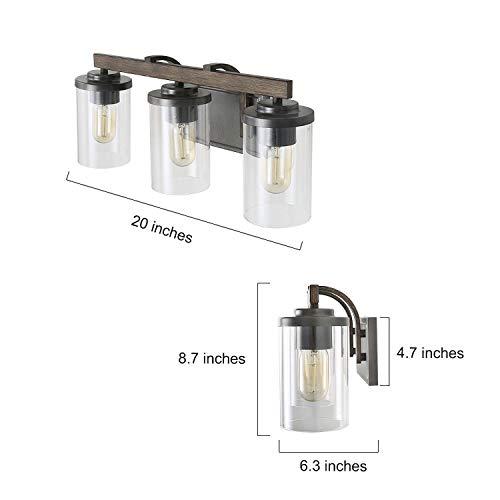 Farmhouse Bathroom Vanity Light Fixtures Rustic Vanity Lighting With 3 Clear Glass Wood Bathroom Fixture Over Mirror L20 X H87 X W63 0 5