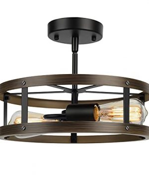 Farmhouse Semi Flush Mount Ceiling Light Fixture 2 Light Industrial Metal Cage Ceiling Lamp Vintage Close To Ceiling Lighting Wood And Matte Black Finish 0 300x360