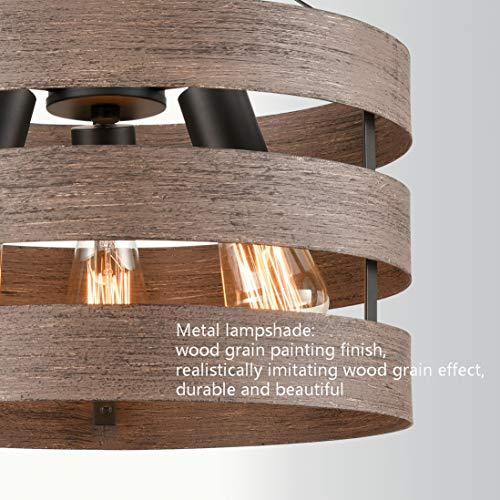 Farmhouse Semi Flush Mount Ceiling Light Metal Drum Shade Wood Finish 3 Light 0 3