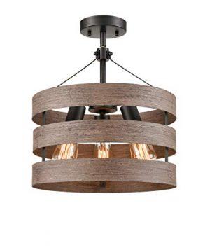 Farmhouse Semi Flush Mount Ceiling Light Metal Drum Shade Wood Finish 3 Light 0 300x360