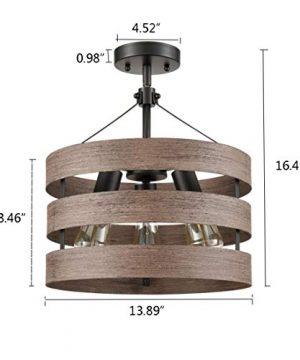 Farmhouse Semi Flush Mount Ceiling Light Metal Drum Shade Wood Finish 3 Light 0 4 300x360