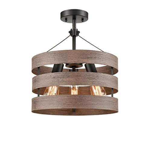 Farmhouse Semi Flush Mount Ceiling Light Metal Drum Shade Wood Finish 3 Light 0