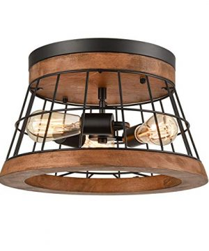 Farmhouse Wood Round Ceiling Light Rustic Drum Flush Mount Lighting Fixture Brown Finished Natural Wood 0 300x360