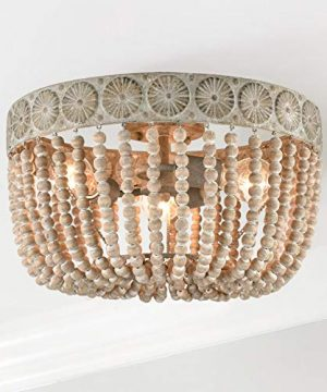 Farmhouse Wooden Ceiling Lights Wood Bead Flush Mount Ceiling Lighting Fixture Art Decor 0 300x360