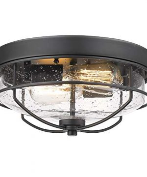 Flush Mount Ceiling Light Fixtures HWH 12 Inch 2 Light Farmhouse Close To Ceiling Light Fixture With Seeded Glass Shade Sand Black Finish 5HTJ7 F BK 0 300x360