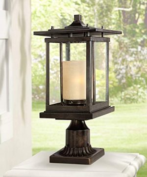 Foxmoore Modern Mission Outdoor Post Light Bronze Metal Pagoda 17 Clear Amber Frosted Glass For Exterior House Porch Patio Outside Deck Garage Garden Driveway Home Lawn Walkway Franklin Iron Works 0 300x360
