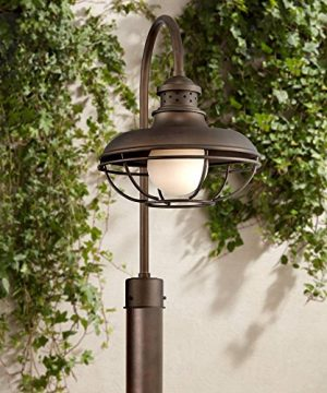 Franklin Park Farmhouse Rustic Outdoor Post Light Oil Rubbed Bronze Open Cage 23 12 White Glass Orb For Exterior House Porch Patio Outside Deck Garage Yard Garden Driveway Franklin Iron Works 0 300x360