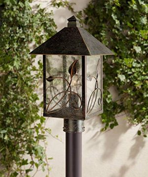 French Garden Rustic Outdoor Post Light Bronze Leaf And Vine Motif 17 Clear Seedy Glass Decor For Exterior House Porch Patio Outside Deck Garage Yard Driveway Home Lawn Walkway Franklin Iron Works 0 300x360