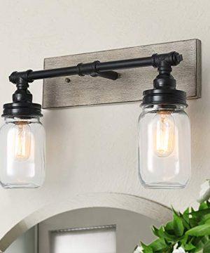 GEPOW Farmhouse Bathroom Vanity Light Fixtures With Mason Jar Shade Faux Wood Finish 18 X 65 X 12 0 300x360