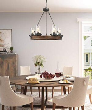 GEPOW Farmhouse Wood Chandelier Round Wagon Wheel Light Fixture With Seeded Glass Shades For Dining Room Living Room Bedroom Kitchen Island And Foyer 0 300x360