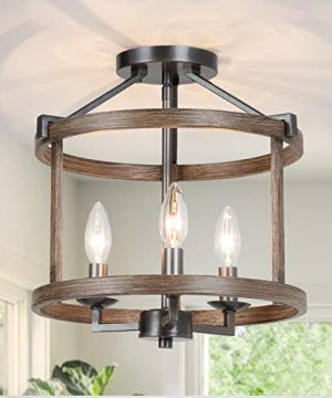 GEPOW Semi Flush Mount Ceiling Light Fixture Farmhouse Faux Wood Ceiling Light For Bedroom Hallway Foyer Entryway Kitchen Stairway Dining Living Room 0 300x360