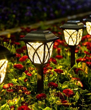 GIGALUMI Solar Pathway Lights Outdoor 6 Pack LED Solar Landscape Lights Waterproof Solar Powered Pathway Lights For Yard Patio Landscape Walkway Warm White 0 300x360