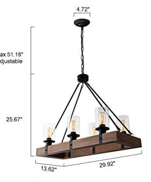 GOMUNIN Farmhouse Wooden Chandelier Vintage Rectangle 6 Light Pendant Light Rustic Dining Room Chandelier With Clear Glass Shade For Kitchen Hallway Living Room Restaurant 0 0 300x360