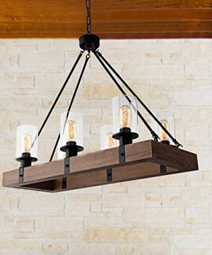 GOMUNIN Farmhouse Wooden Chandelier Vintage Rectangle 6 Light Pendant Light Rustic Dining Room Chandelier With Clear Glass Shade For Kitchen Hallway Living Room Restaurant 0 300x360