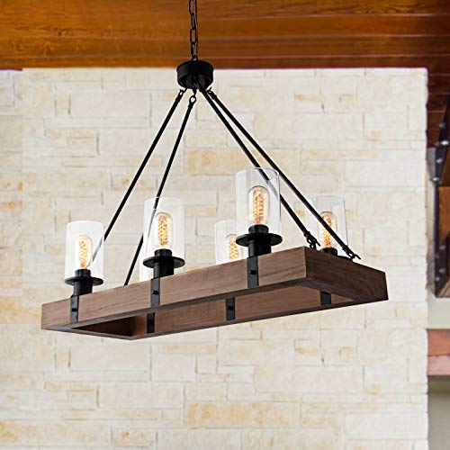 GOMUNIN Farmhouse Wooden Chandelier Vintage Rectangle 6 Light Pendant Light Rustic Dining Room Chandelier With Clear Glass Shade For Kitchen Hallway Living Room Restaurant 0