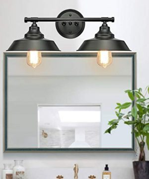GOODYI 2 Lights Vanity Wall Sconce Lighting Rustic Style Matte Black Bathroom Light Fixtures Over Mirror Industrial Wall Light Sconces For Bathroom Vanity Lights For Cabinets Dressing Table 0 300x360