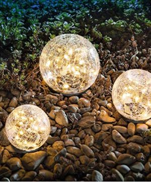 Garden Solar Lights Cracked Glass Ball Waterproof Warm White LED For Outdoor Decor Decorations Pathway Patio Yard Lawn 1 Globe 39 0 300x360