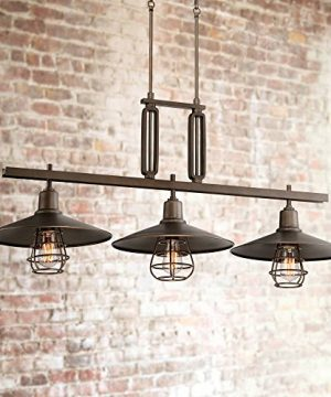 Garryton Oil Rubbed Bronze Large Linear Island Pendant Chandelier Lighting 44 Wide Rustic Farmhouse Industrial 3 Light Fixture For Kitchen Dining Room House High Ceilings Franklin Iron Works 0 300x360