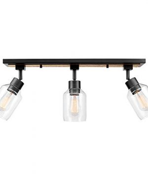 Globe Electric 59798 Griffith 25 3 Track Lighting Faux Wood Finish Matte Black Accents Clear Glass Shades 0 300x360