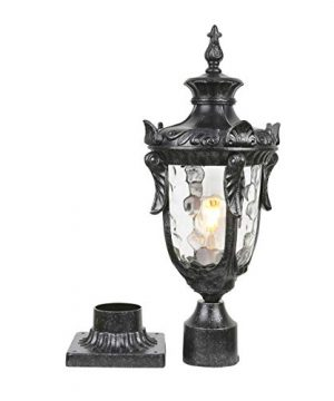 Goalplus Outdoor Post Lamp With Pier Mount For Yard 1 Light 60W E26 Post Light Fixture 21 High Vintage Post Lantern In Dark Stone Finish With Hammered Glass IP 44 Waterproof LM2003 M 0 300x360