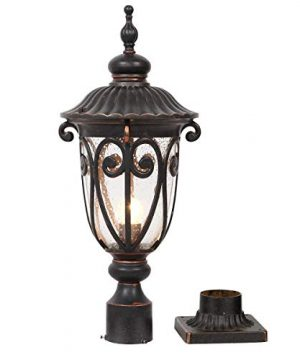 Goalplus Outdoor Post Light Fixture With Pier Mount Vintage Post Lamp For Yard 60W E26 Post Lantern In Bronze Finish With Seeded Glass Shade 24 High IP44 Waterproof LM0519 M 0 300x360