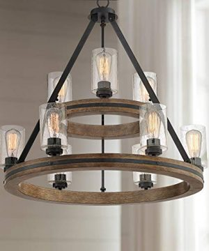 Gorham Gray Large Wagon Wheel Chandelier 32 Wide Farmhouse Rustic Clear Bubble Glass 9 Light Fixture For Dining Room House Foyer Kitchen Island Entryway Bedroom Living Room Franklin Iron Works 0 300x360
