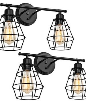 HAITRAL Bathroom Light Fixtures 2 Pack Black Wall Light Fixtures With Cage Shade Farmhouse Bathroom Vanity Light Fixture For Bathroom Mirror Cabinets Vanity Table Dressing Table Black 0 300x360