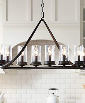 Heritage Bronze Large Linear Island Pendant Chandelier Lighting 44 Wide Modern Rustic Clear Glass Cylinder Shades 10 Light Fixture For Kitchen Dining Room House High Ceilings Franklin Iron Works 0 300x360