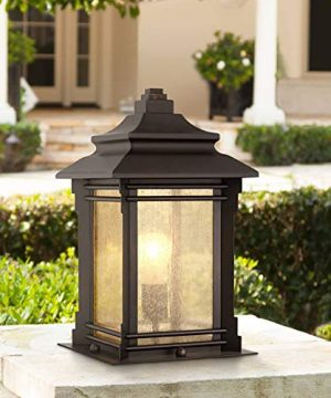 Hickory Point Asian Outdoor Light Fixture Bronze 165 Textured Glass For Exterior House Porch Patio Franklin Iron Works 0 300x360