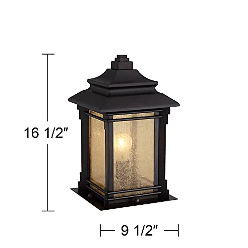 Hickory Point Asian Outdoor Light Fixture Bronze 165 Textured Glass For Exterior House Porch Patio Franklin Iron Works 0 4