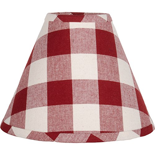 Home Collections By Raghu 10 Inch Lamp Buffalo Check Barn Red Buttermilk Shade 0