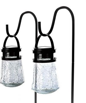 Home Zone Security Solar Pathway Lights Outdoor 3000K Decorative Large Crackle Glass Garden LED Lights With No Wiring Required 2 Pack 0 300x360