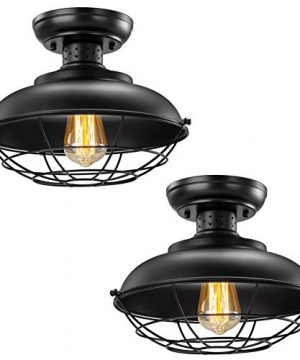 Industrial Ceiling Light 2 Pack Vintage Rustic Semi Flush Mount Ceiling Light Farmhouse Antique Caged Style Ceiling Lamp Fixture For Hallway Stairway Foyer Kitchen Garage Porch Entryway 0 300x360