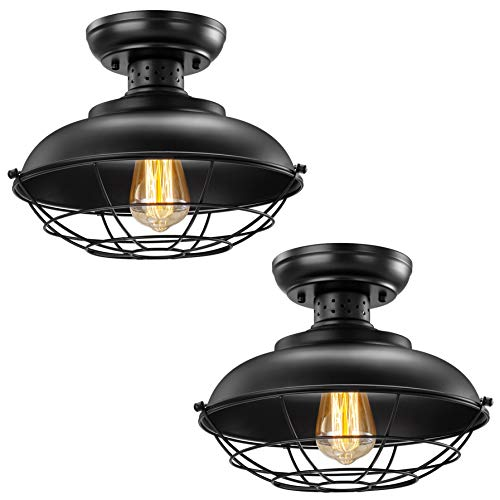 Industrial Ceiling Light 2 Pack Vintage Rustic Semi Flush Mount Ceiling Light Farmhouse Antique Caged Style Ceiling Lamp Fixture For Hallway Stairway Foyer Kitchen Garage Porch Entryway 0