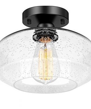 Industrial Ceiling Light Semi Flush Mount Farmhouse Ceiling Light Fixture For Hallway Porch Kitchen Entryway Bedroom Corridor Black Close To Ceiling Lights With Bubble Glass Shade E26 Base 0 300x360