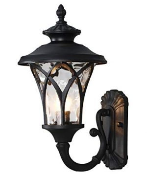 Industrial Outdoor Wall Light Vintage Style Large Size Waterproof Outside Wall LanternExterior Wall Lighting Decor For House Deck Patio Porch LightingBlack With Water Glass Shade 1732H 0 300x360